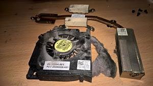 Putekļiem pārklāts datora ventilators